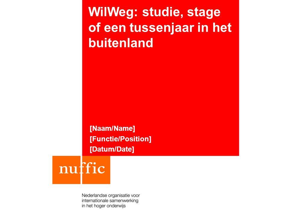 WilWeg: studie, stage of een tussenjaar in het buitenland [Naam/Name] [Functie/Position] [Datum/Date]