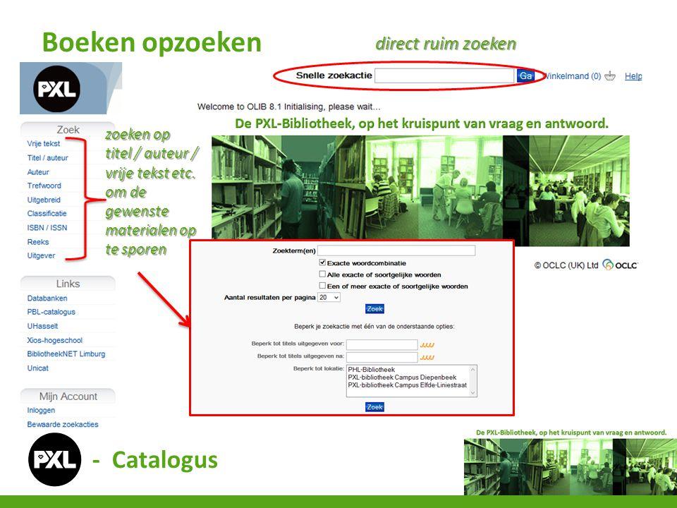 - Catalogus Boeken opzoeken zoeken op titel / auteur / vrije tekst etc.
