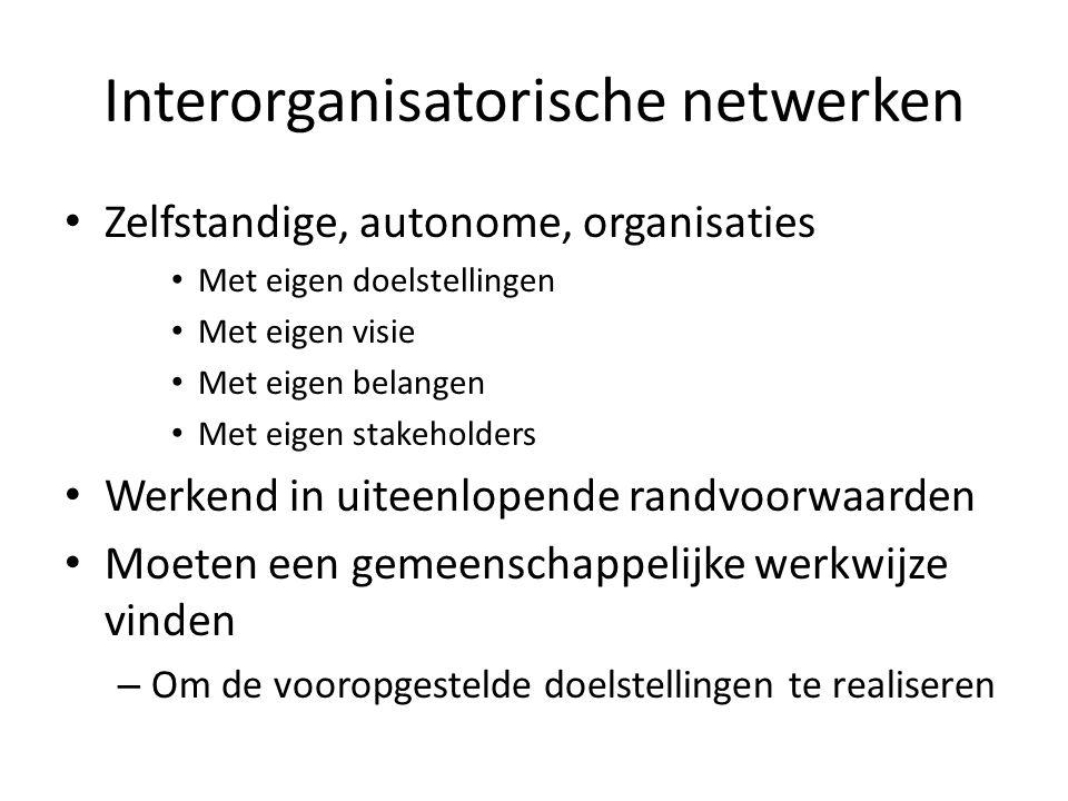 Interorganisatorische netwerken • Zelfstandige, autonome, organisaties • Met eigen doelstellingen • Met eigen visie • Met eigen belangen • Met eigen s
