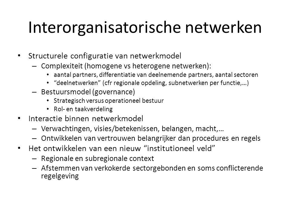 Interorganisatorische netwerken • Structurele configuratie van netwerkmodel – Complexiteit (homogene vs heterogene netwerken): • aantal partners, diff