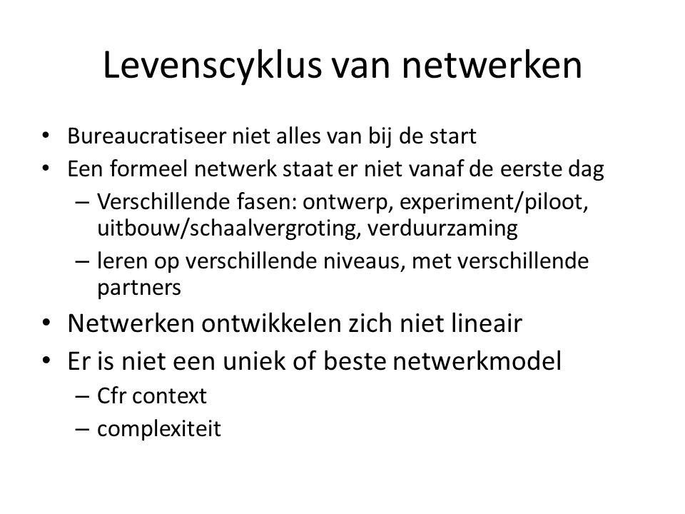 Levenscyklus van netwerken • Bureaucratiseer niet alles van bij de start • Een formeel netwerk staat er niet vanaf de eerste dag – Verschillende fasen