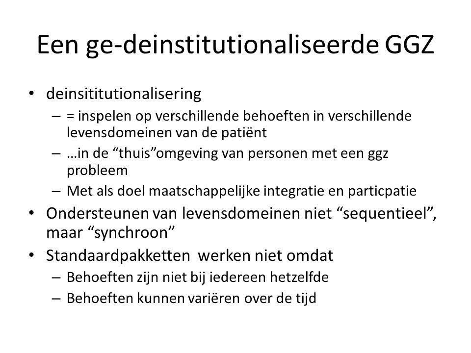 Een ge-deinstitutionaliseerde GGZ • deinsititutionalisering – = inspelen op verschillende behoeften in verschillende levensdomeinen van de patiënt – …