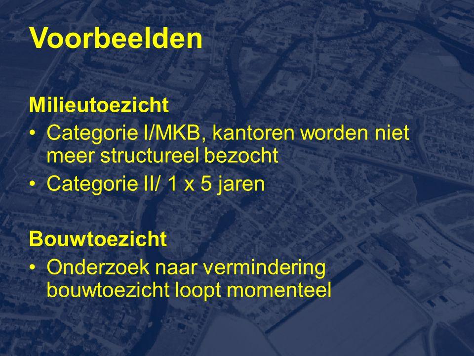 Milieutoezicht •Categorie I/MKB, kantoren worden niet meer structureel bezocht •Categorie II/ 1 x 5 jaren Bouwtoezicht •Onderzoek naar vermindering bouwtoezicht loopt momenteel Voorbeelden