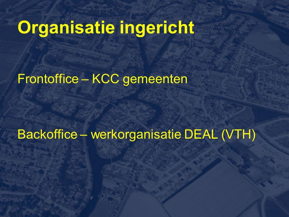 Organisatie ingericht Frontoffice – KCC gemeenten Backoffice – werkorganisatie DEAL (VTH)