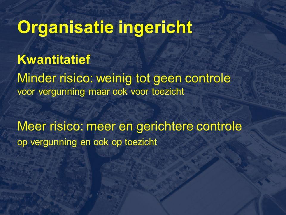 Organisatie ingericht Kwantitatief Minder risico: weinig tot geen controle voor vergunning maar ook voor toezicht Meer risico: meer en gerichtere controle op vergunning en ook op toezicht
