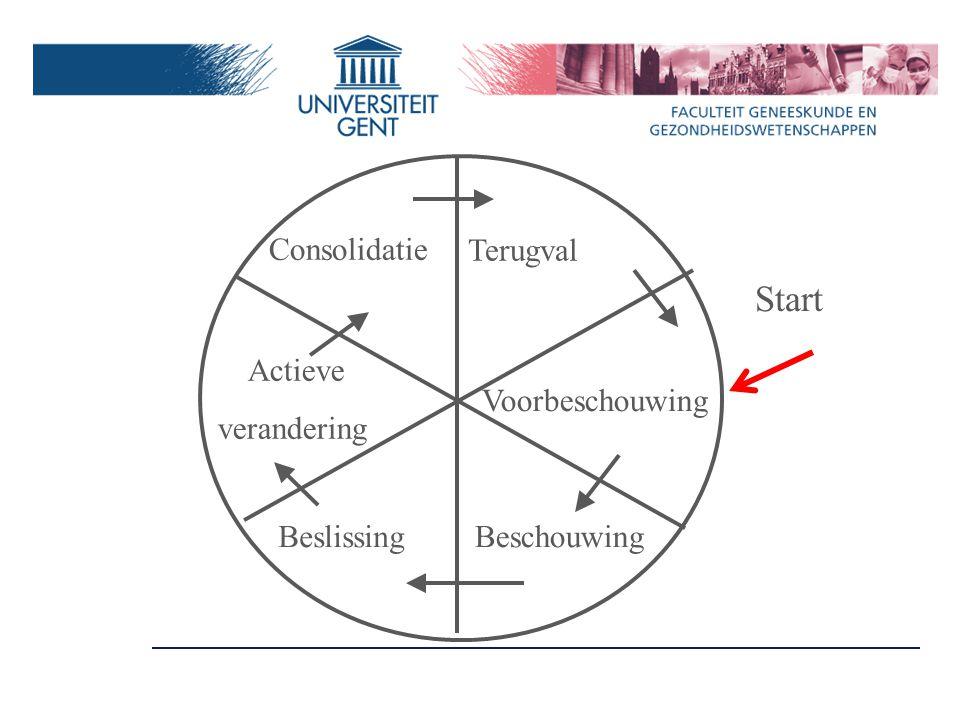 Voorbeschouwing BeschouwingBeslissing Actieve verandering Consolidatie Terugval Start