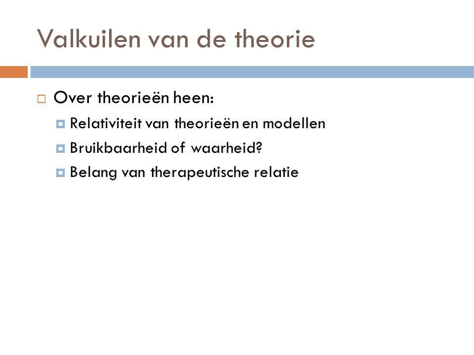 Valkuilen van de theorie  Over theorieën heen:  Relativiteit van theorieën en modellen  Bruikbaarheid of waarheid?  Belang van therapeutische rela