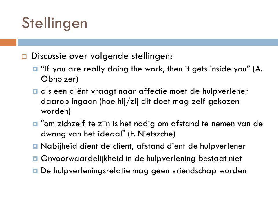 "Stellingen  Discussie over volgende stellingen:  ""If you are really doing the work, then it gets inside you"" (A. Obholzer)  als een cliënt vraagt n"