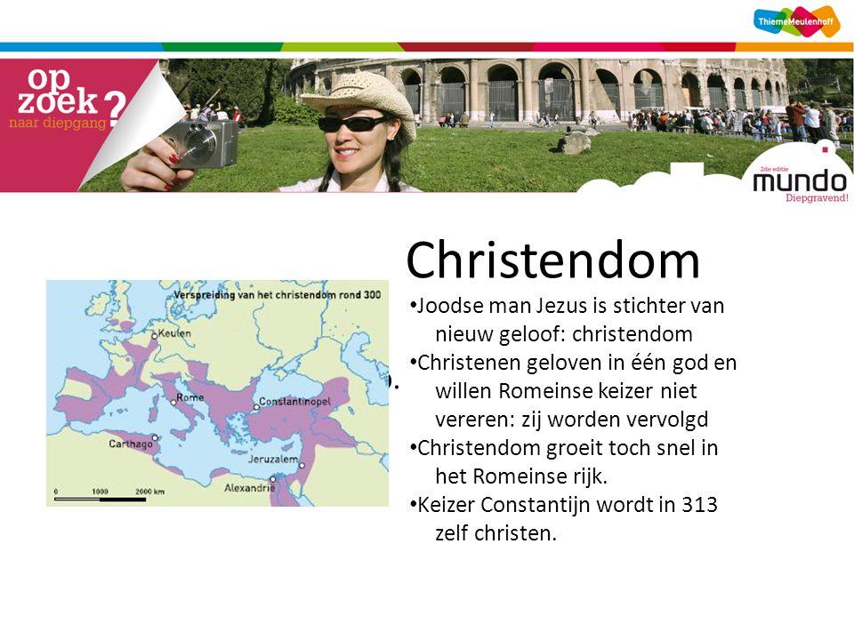 Christendom [kaart verspreiding christendom, tijdwijzer p. 140] • Joodse man Jezus is stichter van nieuw geloof: christendom • Christenen geloven in é