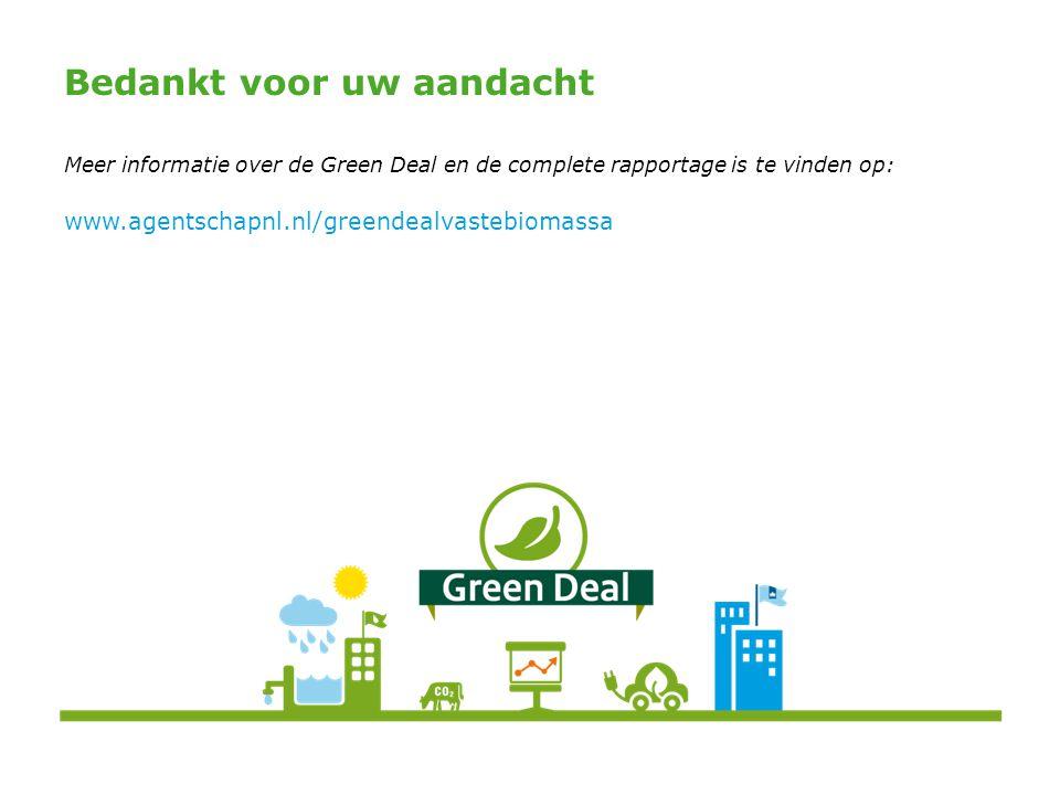 Bedankt voor uw aandacht Meer informatie over de Green Deal en de complete rapportage is te vinden op: www.agentschapnl.nl/greendealvastebiomassa