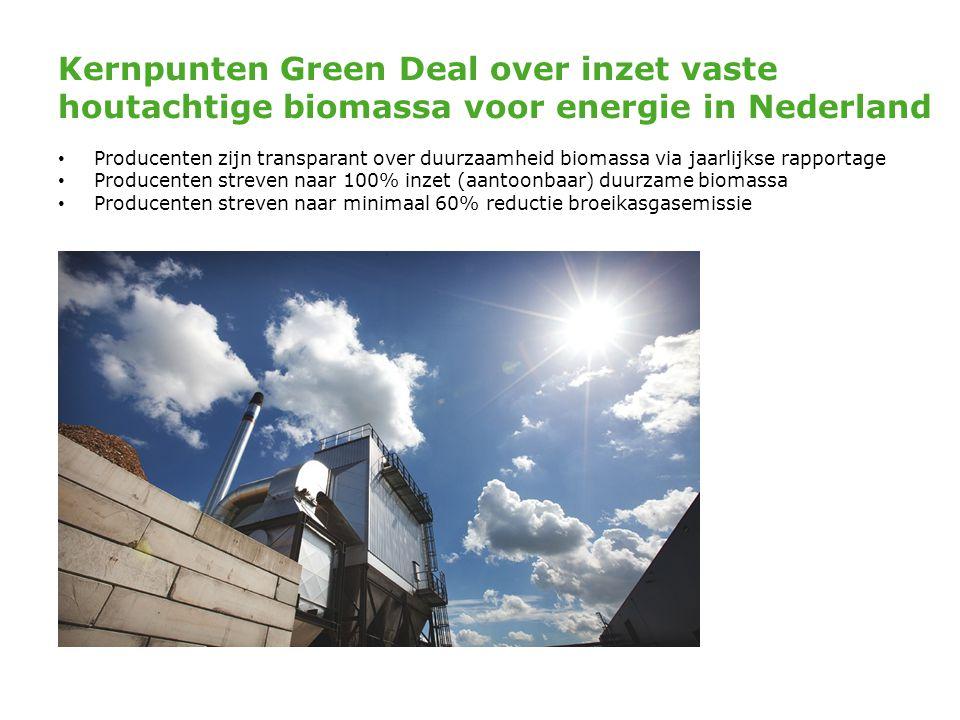Kernpunten Green Deal over inzet vaste houtachtige biomassa voor energie in Nederland • Producenten zijn transparant over duurzaamheid biomassa via ja