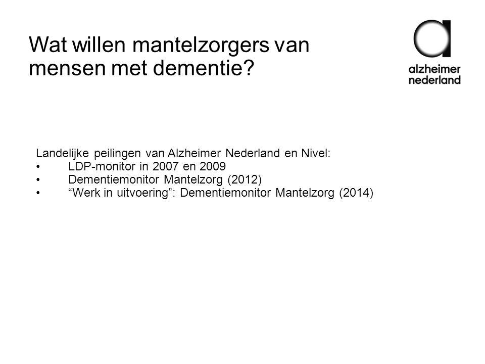 Wat willen mantelzorgers van mensen met dementie? Landelijke peilingen van Alzheimer Nederland en Nivel: •LDP-monitor in 2007 en 2009 •Dementiemonitor