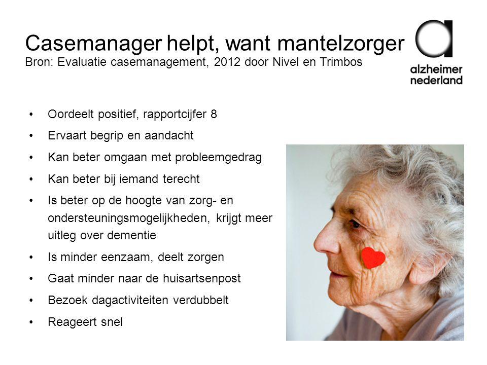Casemanager helpt, want mantelzorger Bron: Evaluatie casemanagement, 2012 door Nivel en Trimbos •Oordeelt positief, rapportcijfer 8 • Ervaart begrip e