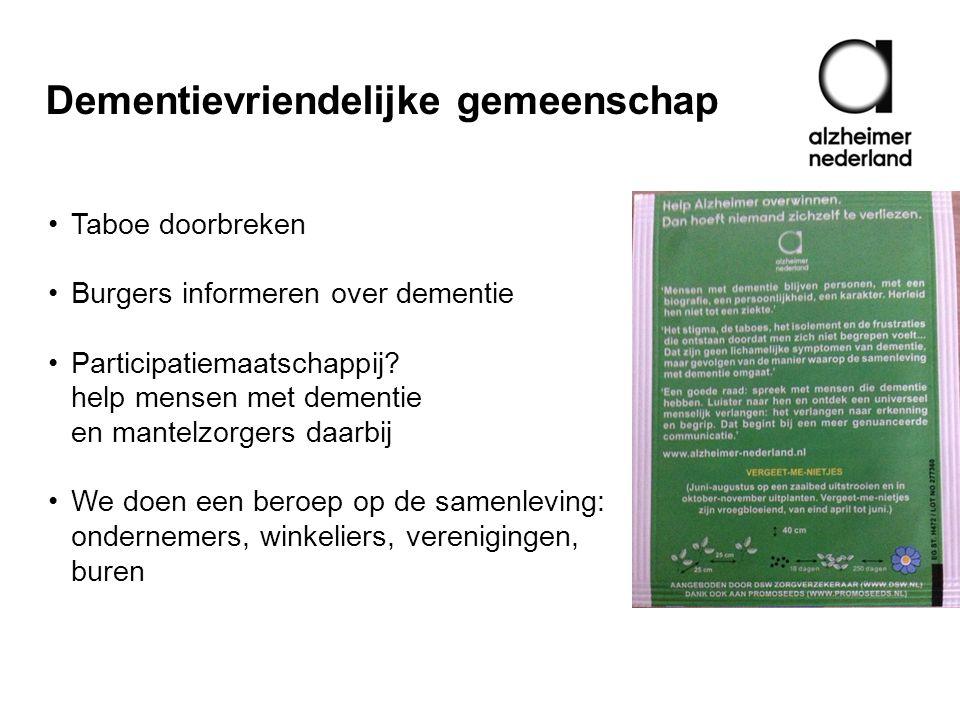 Dementievriendelijke gemeenschap •Taboe doorbreken •Burgers informeren over dementie •Participatiemaatschappij? help mensen met dementie en mantelzorg