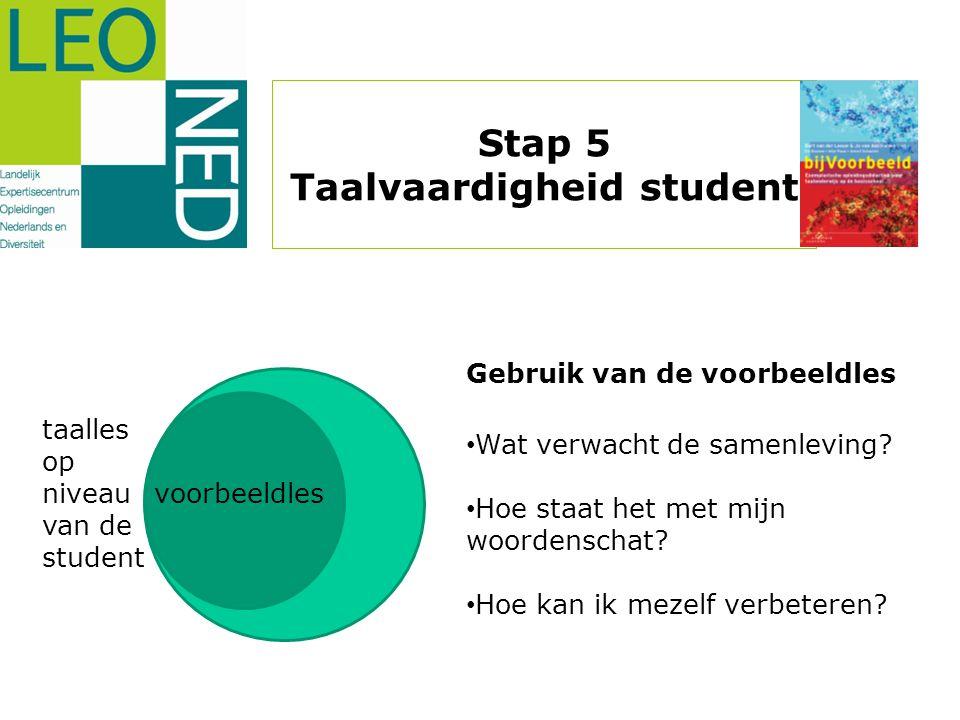 voorbeeldles taalles op niveau van de student Gebruik van de voorbeeldles • Wat verwacht de samenleving? • Hoe staat het met mijn woordenschat? • Hoe