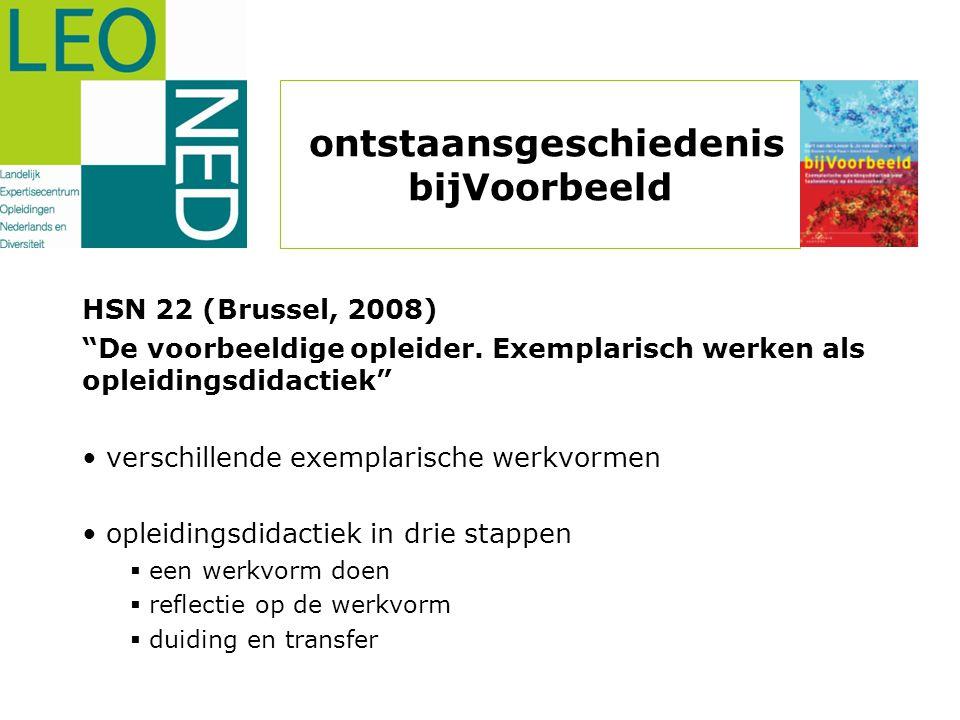 """ontstaansgeschiedenis bijVoorbeeld HSN 22 (Brussel, 2008) """"De voorbeeldige opleider. Exemplarisch werken als opleidingsdidactiek"""" • verschillende exem"""
