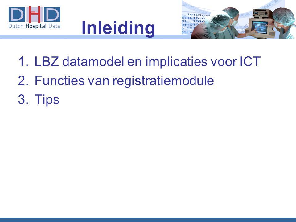 Inleiding 1.LBZ datamodel en implicaties voor ICT 2.Functies van registratiemodule 3.Tips