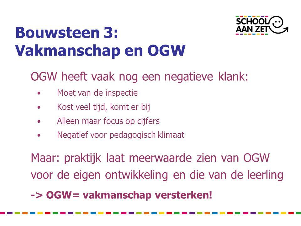 Bouwsteen 3: Vakmanschap en OGW OGW heeft vaak nog een negatieve klank: •Moet van de inspectie •Kost veel tijd, komt er bij •Alleen maar focus op cijfers •Negatief voor pedagogisch klimaat Maar: praktijk laat meerwaarde zien van OGW voor de eigen ontwikkeling en die van de leerling -> OGW= vakmanschap versterken!