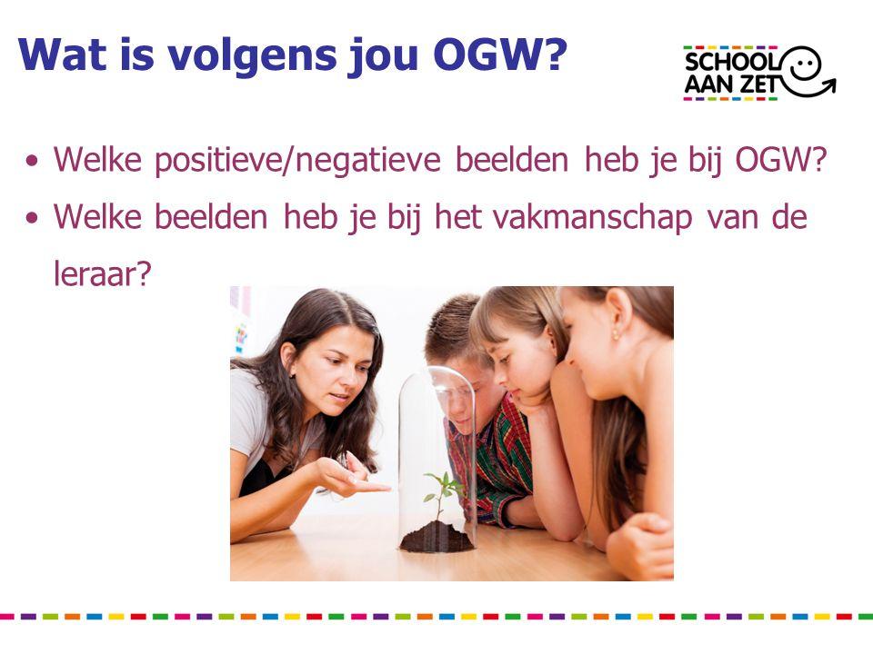 Wat is volgens jou OGW? • Welke positieve/negatieve beelden heb je bij OGW? • Welke beelden heb je bij het vakmanschap van de leraar?