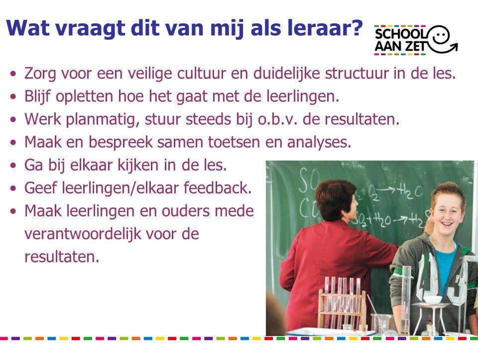 Wat vraagt dit van mij als leraar? • Zorg voor een veilige cultuur en duidelijke structuur in de les. • Blijf opletten hoe het gaat met de leerlingen.