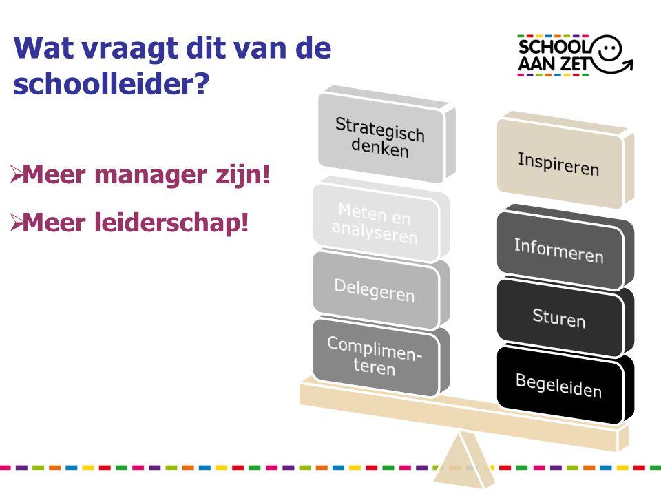 Wat vraagt dit van de schoolleider?  Meer manager zijn!  Meer leiderschap!