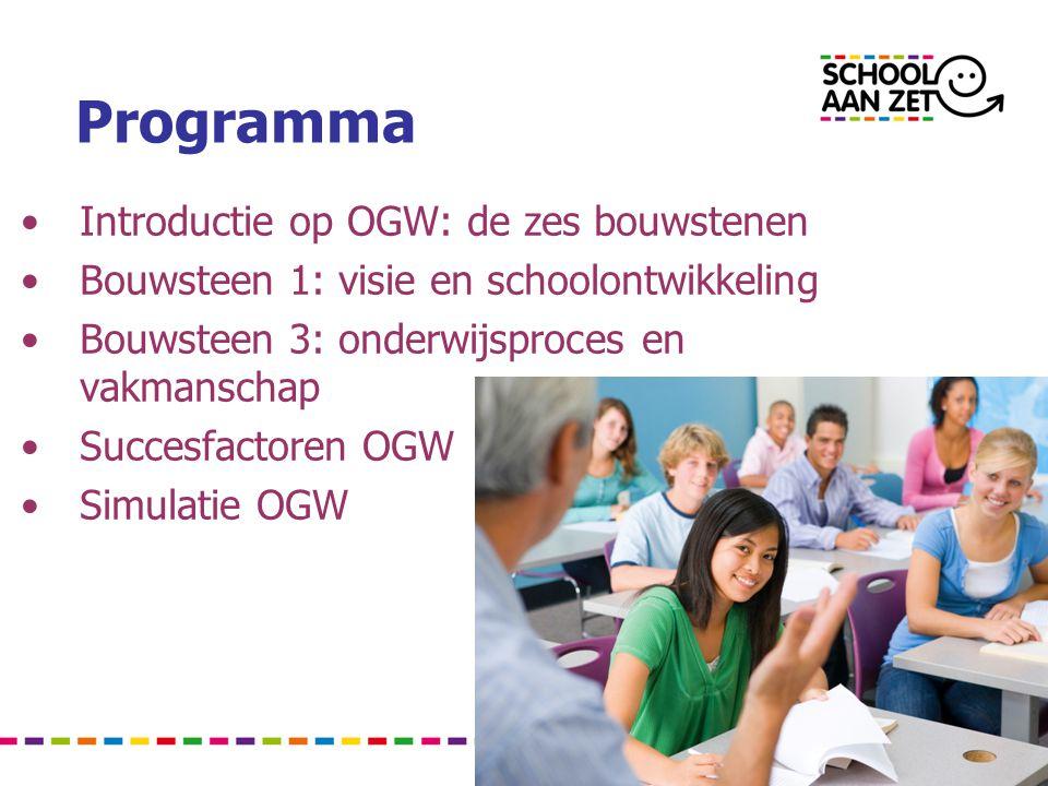Programma •Introductie op OGW: de zes bouwstenen •Bouwsteen 1: visie en schoolontwikkeling •Bouwsteen 3: onderwijsproces en vakmanschap •Succesfactoren OGW •Simulatie OGW