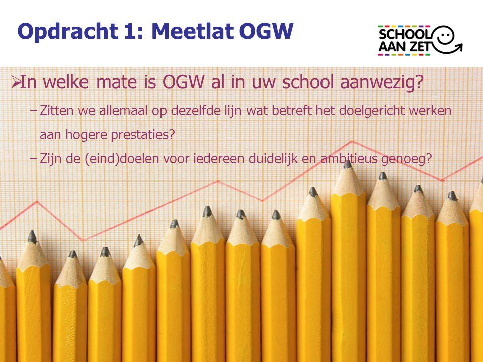 Opdracht 1: Meetlat OGW  In welke mate is OGW al in uw school aanwezig.