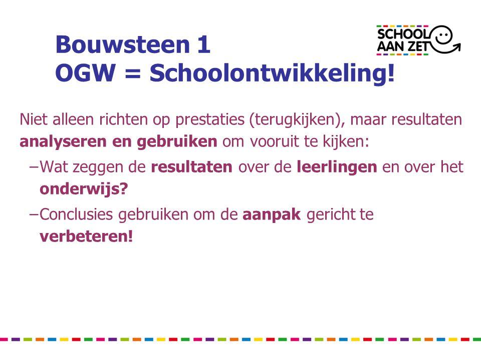Bouwsteen 1 OGW = Schoolontwikkeling! Niet alleen richten op prestaties (terugkijken), maar resultaten analyseren en gebruiken om vooruit te kijken: –