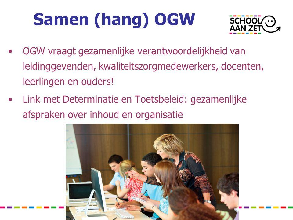Samen (hang) OGW •OGW vraagt gezamenlijke verantwoordelijkheid van leidinggevenden, kwaliteitszorgmedewerkers, docenten, leerlingen en ouders.