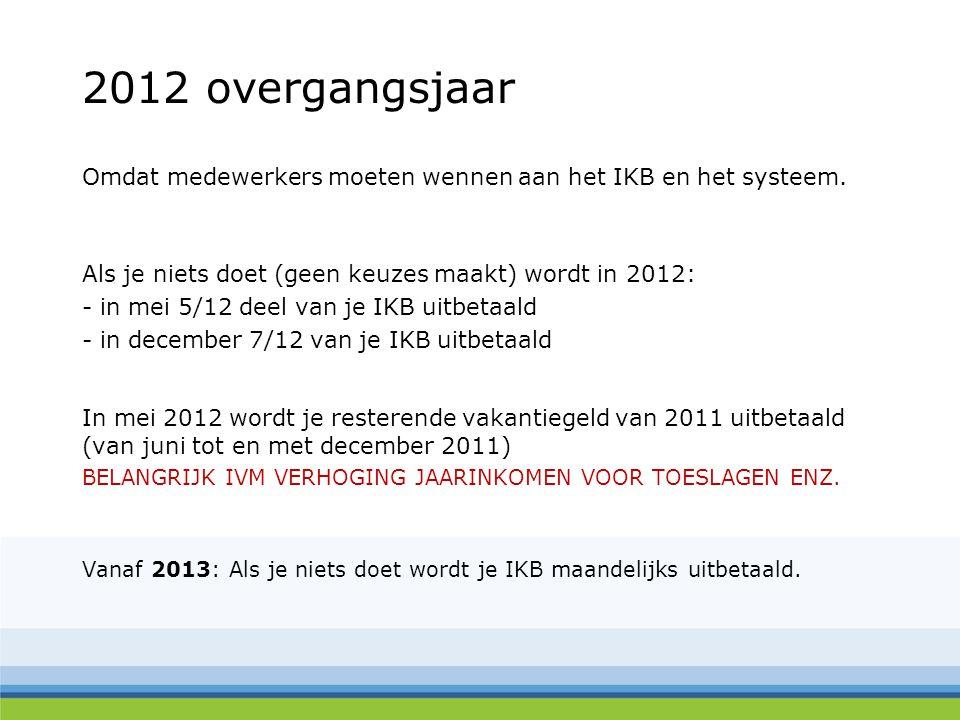 2012 overgangsjaar Omdat medewerkers moeten wennen aan het IKB en het systeem. Als je niets doet (geen keuzes maakt) wordt in 2012: - in mei 5/12 deel