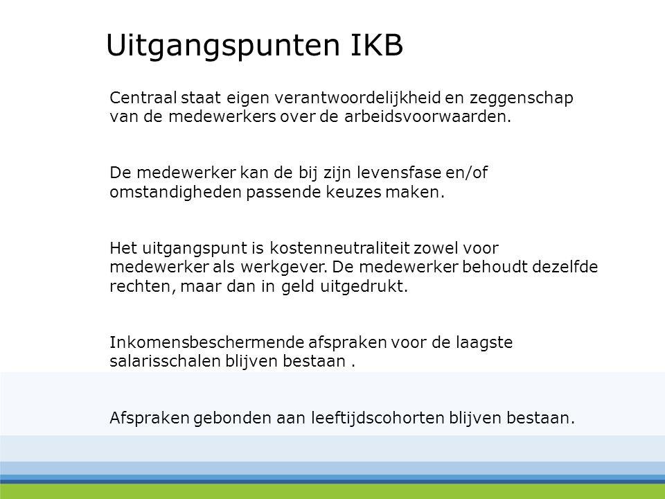 Uitgangspunten IKB Centraal staat eigen verantwoordelijkheid en zeggenschap van de medewerkers over de arbeidsvoorwaarden. De medewerker kan de bij zi
