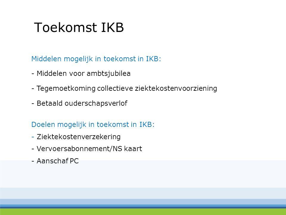 Toekomst IKB Middelen mogelijk in toekomst in IKB: - Middelen voor ambtsjubilea - Tegemoetkoming collectieve ziektekostenvoorziening - Betaald oudersc