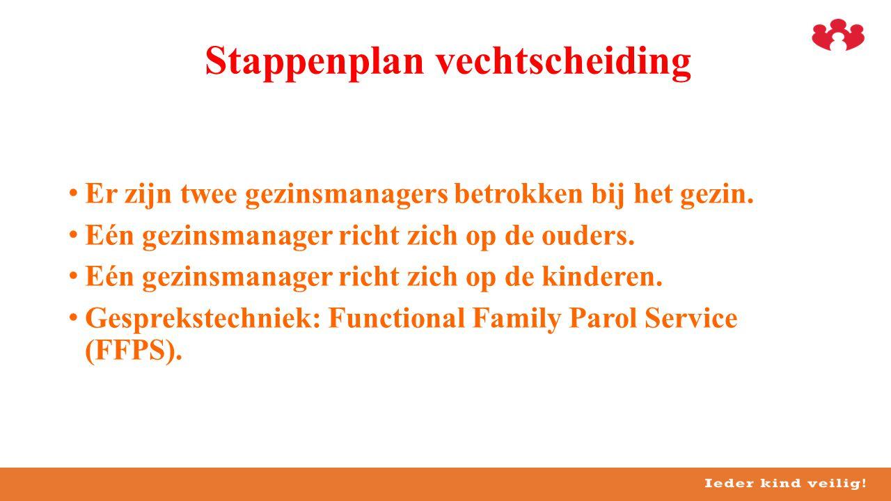 •Er zijn twee gezinsmanagers betrokken bij het gezin. •Eén gezinsmanager richt zich op de ouders. •Eén gezinsmanager richt zich op de kinderen. •Gespr