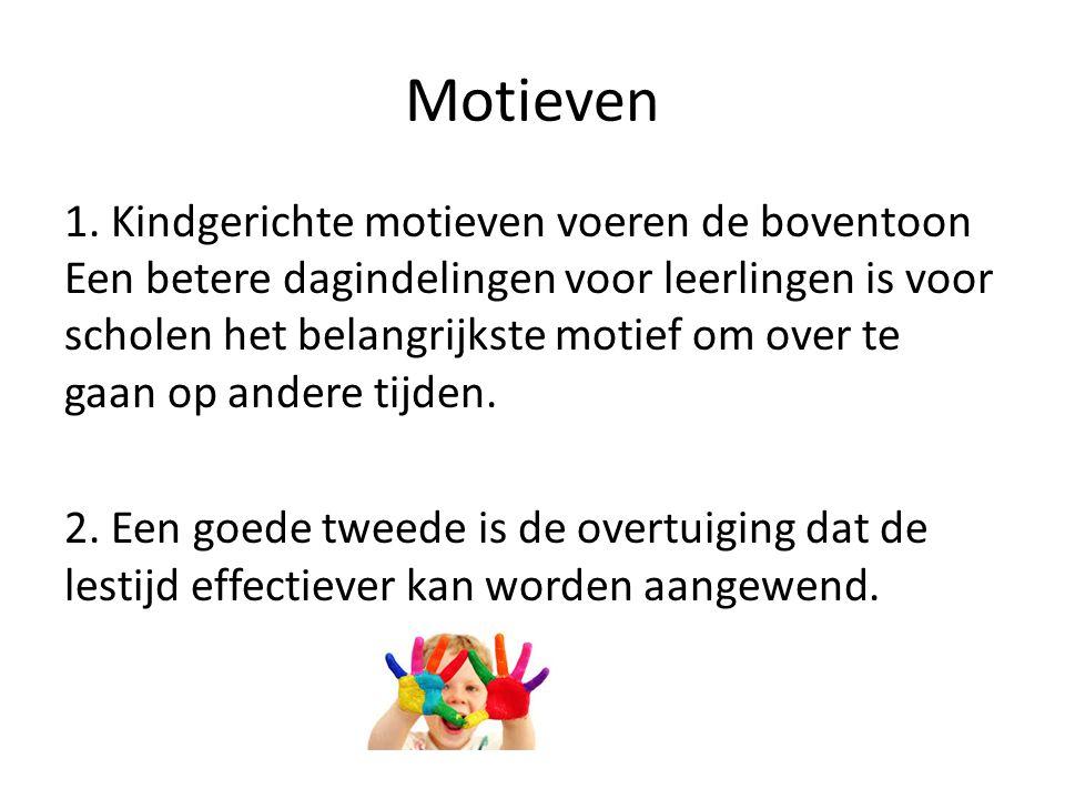 Motieven 1. Kindgerichte motieven voeren de boventoon Een betere dagindelingen voor leerlingen is voor scholen het belangrijkste motief om over te gaa