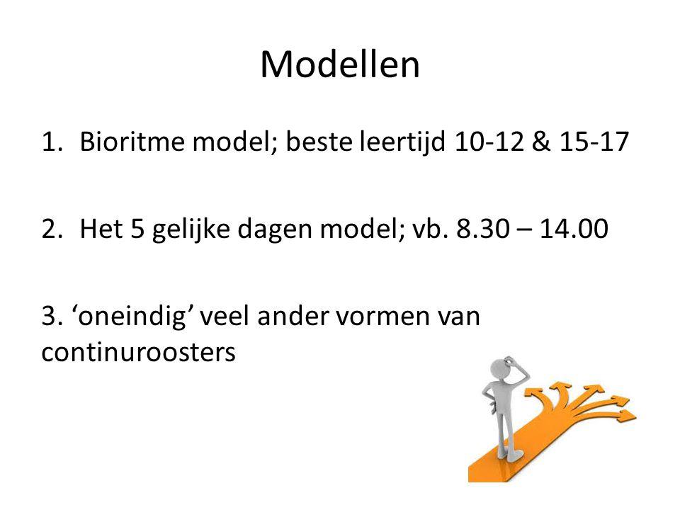 1.Bioritme model; beste leertijd 10-12 & 15-17 2.Het 5 gelijke dagen model; vb. 8.30 – 14.00 3. 'oneindig' veel ander vormen van continuroosters