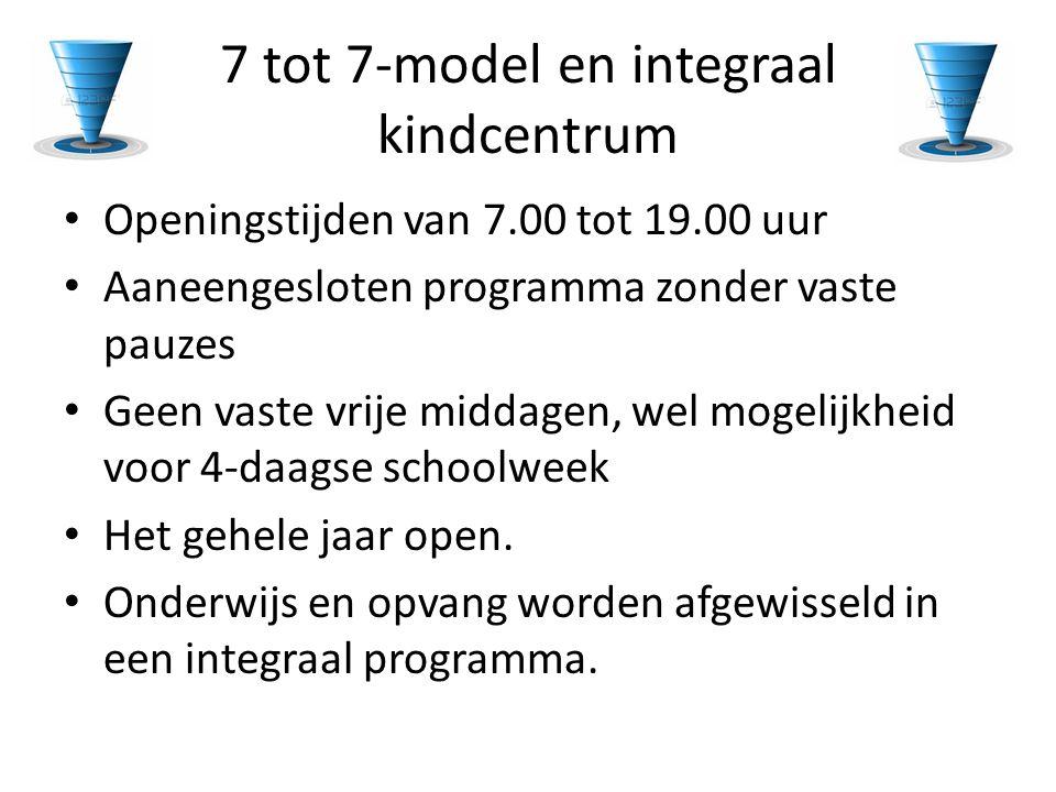 7 tot 7-model en integraal kindcentrum • Openingstijden van 7.00 tot 19.00 uur • Aaneengesloten programma zonder vaste pauzes • Geen vaste vrije midda