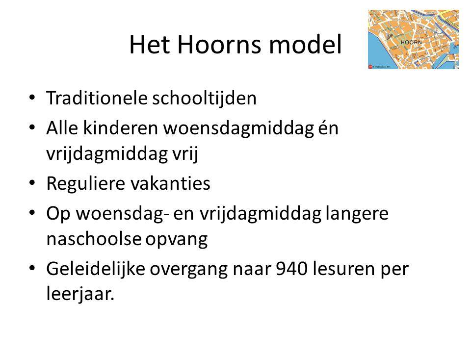 Het Hoorns model • Traditionele schooltijden • Alle kinderen woensdagmiddag én vrijdagmiddag vrij • Reguliere vakanties • Op woensdag- en vrijdagmidda
