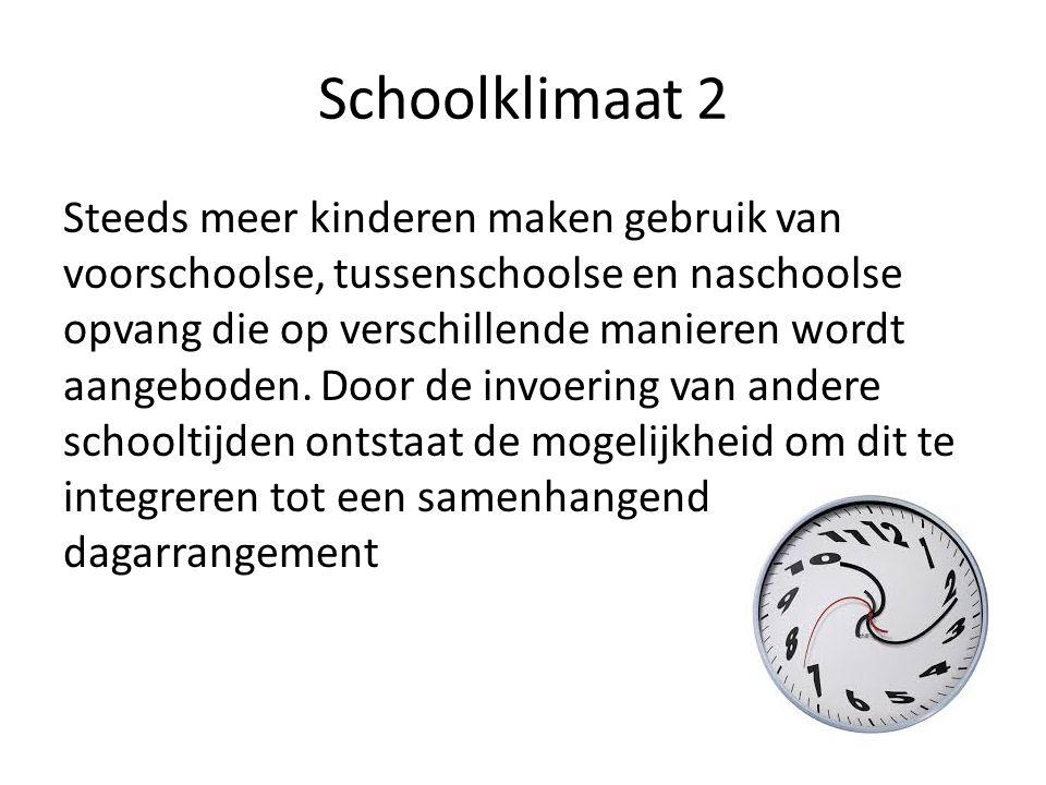 Schoolklimaat 2 Steeds meer kinderen maken gebruik van voorschoolse, tussenschoolse en naschoolse opvang die op verschillende manieren wordt aangebode