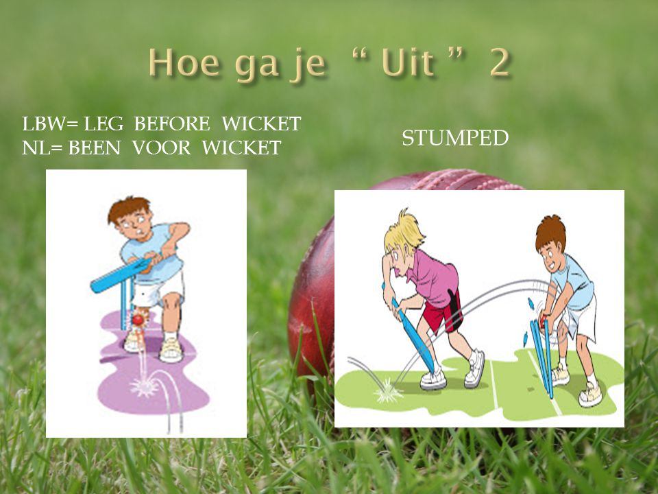 LBW= LEG BEFORE WICKET NL= BEEN VOOR WICKET STUMPED
