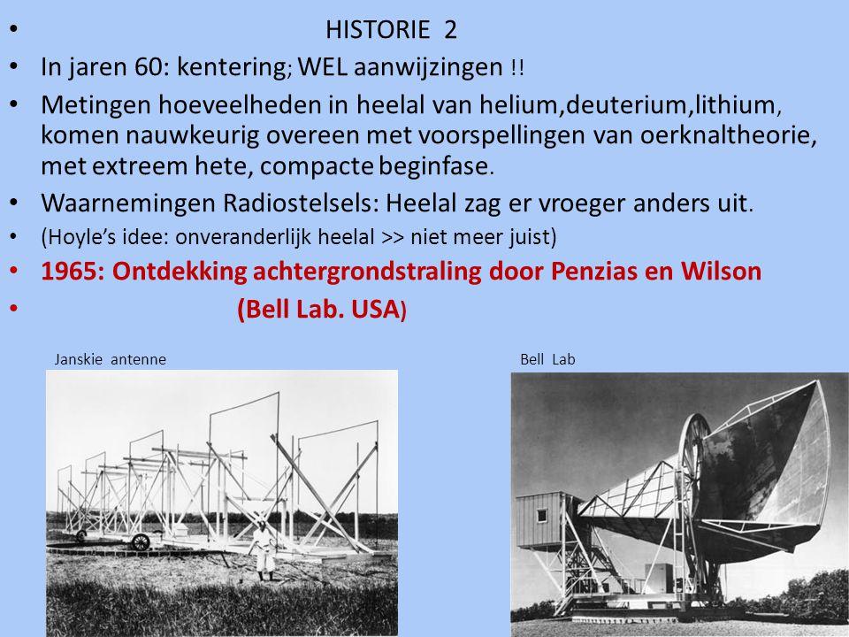 • HISTORIE 2 • In jaren 60: kentering ; WEL aanwijzingen !! • Metingen hoeveelheden in heelal van helium,deuterium,lithium, komen nauwkeurig overeen m