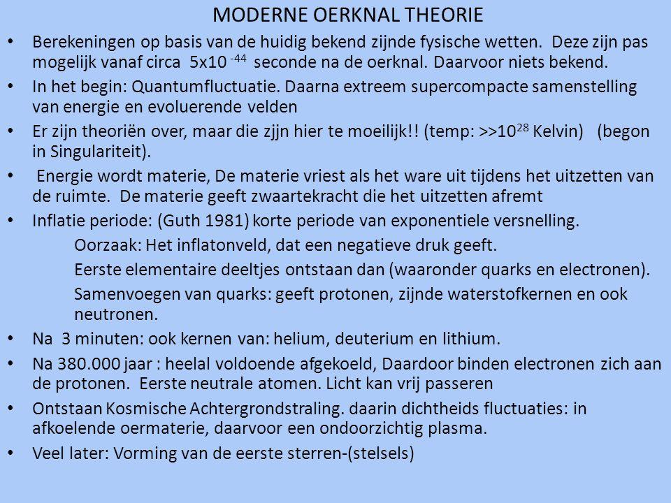 MODERNE OERKNAL THEORIE • Berekeningen op basis van de huidig bekend zijnde fysische wetten. Deze zijn pas mogelijk vanaf circa 5x10 -44 seconde na de