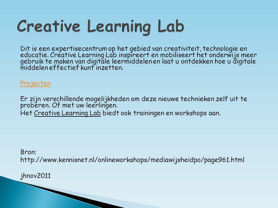 Dit is een expertisecentrum op het gebied van creativiteit, technologie en educatie. Creative Learning Lab inspireert en mobiliseert het onderwijs mee