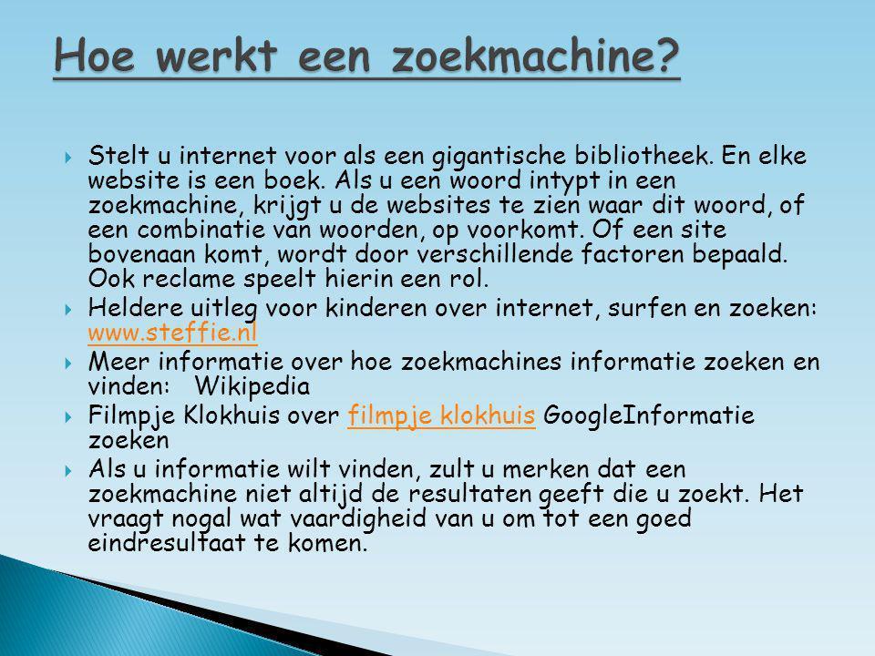  Stelt u internet voor als een gigantische bibliotheek. En elke website is een boek. Als u een woord intypt in een zoekmachine, krijgt u de websites