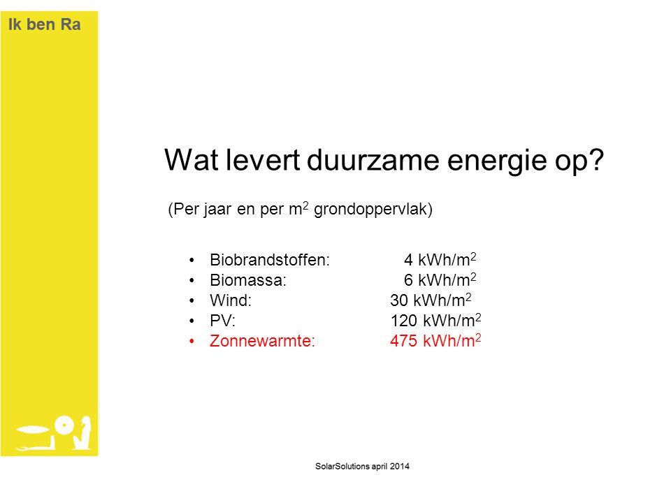 Wat levert duurzame energie op? (Per jaar en per m 2 grondoppervlak) •Biobrandstoffen: 4 kWh/m 2 •Biomassa: 6 kWh/m 2 •Wind: 30 kWh/m 2 •PV:120 kWh/m