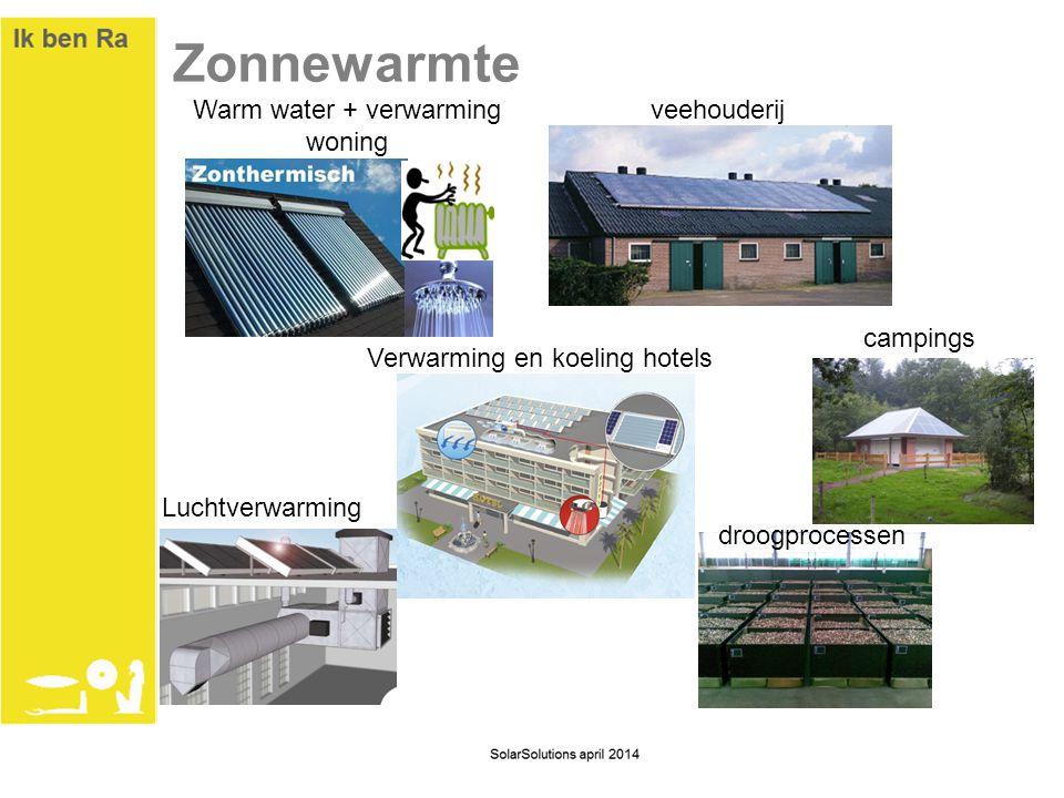 Zonnewarmte droogprocessen veehouderij Luchtverwarming Verwarming en koeling hotels Warm water + verwarming woning campings