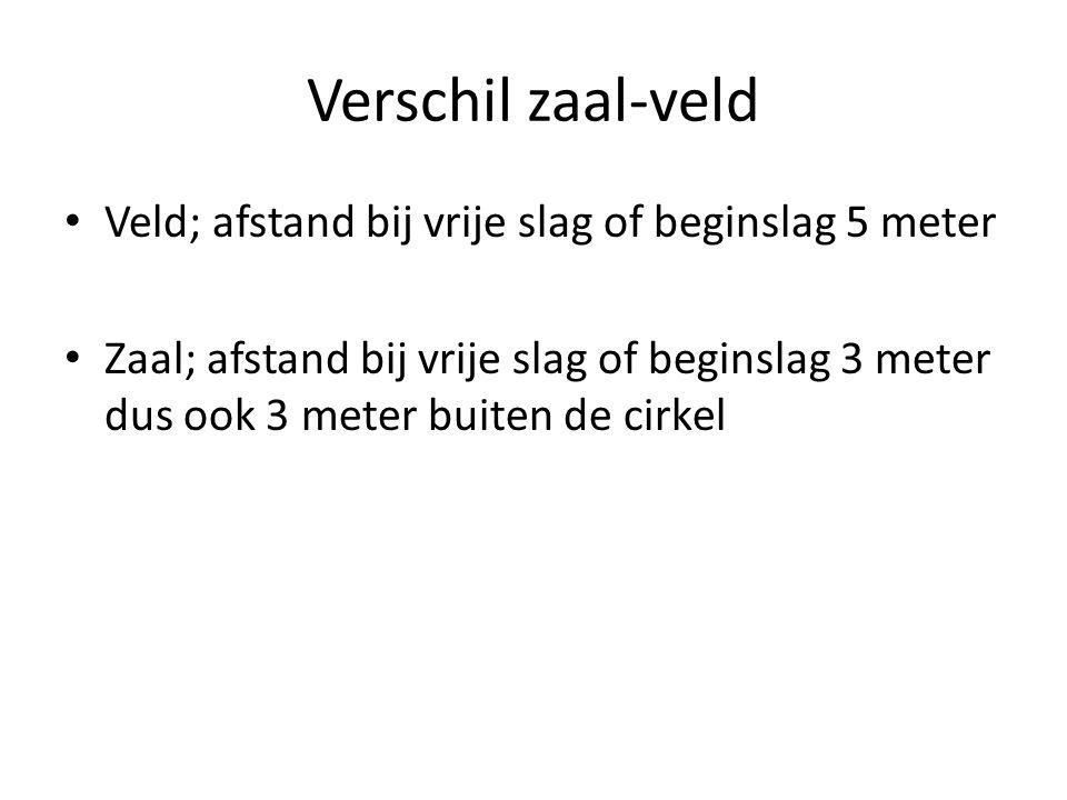 Verschil zaal-veld • Veld; afstand bij vrije slag of beginslag 5 meter • Zaal; afstand bij vrije slag of beginslag 3 meter dus ook 3 meter buiten de cirkel