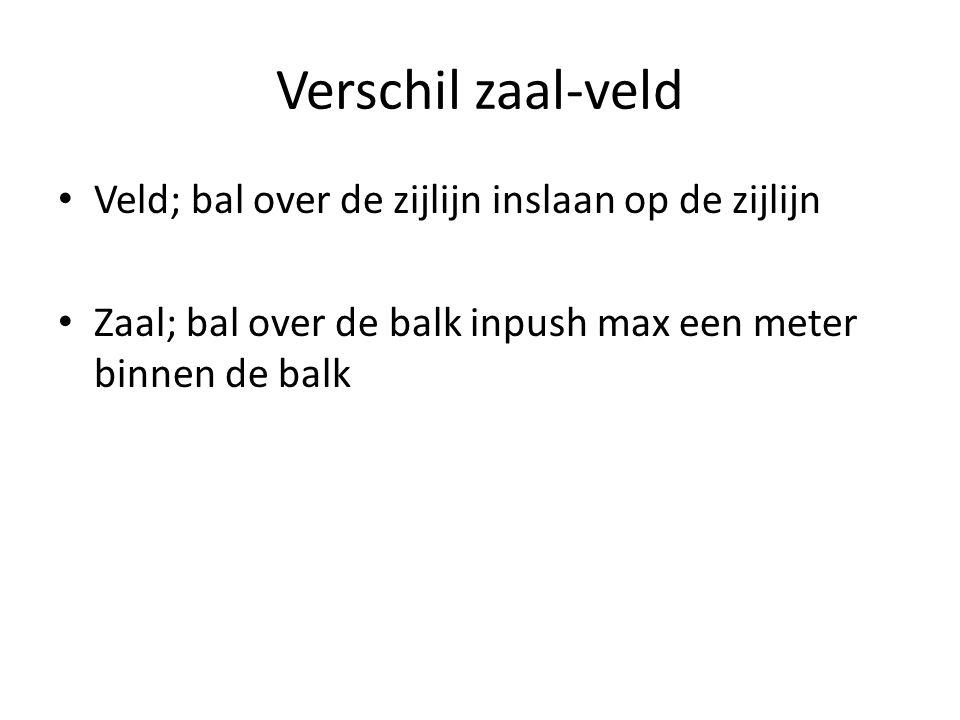 Verschil zaal-veld • Veld; bal over de zijlijn inslaan op de zijlijn • Zaal; bal over de balk inpush max een meter binnen de balk