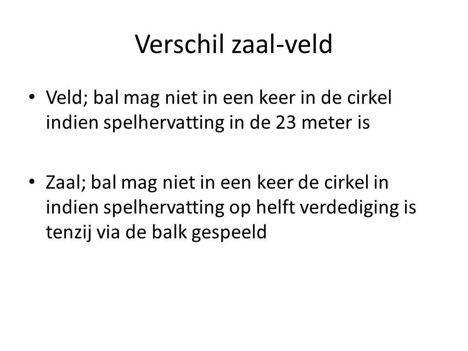 Verschil zaal-veld • Veld; bal mag niet in een keer in de cirkel indien spelhervatting in de 23 meter is • Zaal; bal mag niet in een keer de cirkel in indien spelhervatting op helft verdediging is tenzij via de balk gespeeld