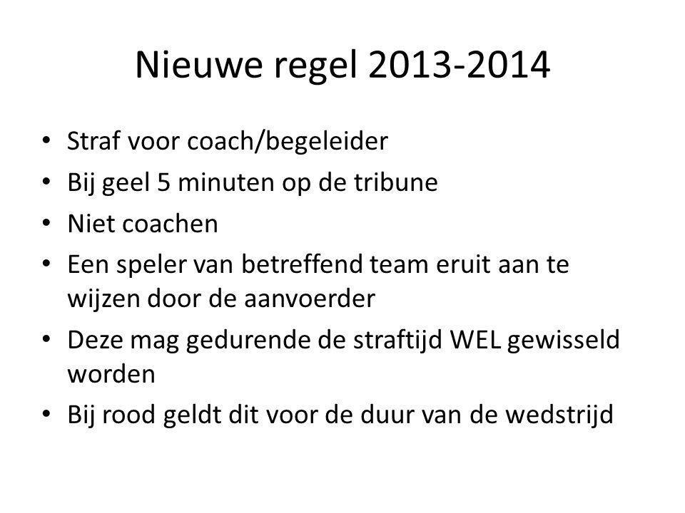 Nieuwe regel 2013-2014 • Het eigen doelpunt telt niet in de zaal • Dit is dan uitslaan • Of een SC als je van mening bent dat dit opzettelijk gebeurt