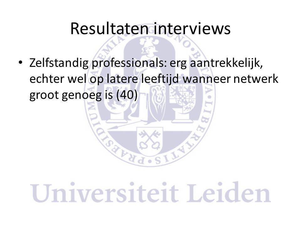 Resultaten interviews • Zelfstandig professionals: erg aantrekkelijk, echter wel op latere leeftijd wanneer netwerk groot genoeg is (40)